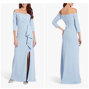 Adrianna papell off shoulder crepe dress blue